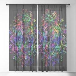 Butterfly mandala Sheer Curtain