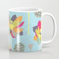 lotus flower Mugs featuring Lotus by Ferntree Studio
