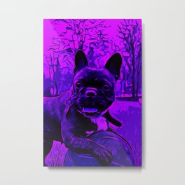 french bulldog basketball vector art purple Metal Print