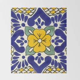 talavera mexican tile in yellow Throw Blanket