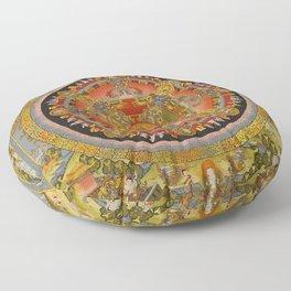 Manjushri Meditation Gold Thangka Mandala Floor Pillow
