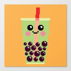 Happy Pixel Bubble Tea Canvas Print