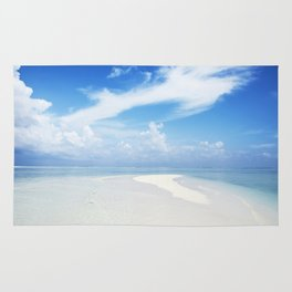 Maldives beach. Sandy spit in the Indian Ocean. Rug