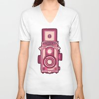 vintage camera V-neck T-shirts featuring Vintage Camera by evannave