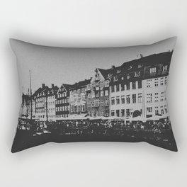 Copenhagen The Nyhavn Harbour Denmark Black and White Photography Rectangular Pillow