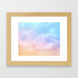 Pastel Rainbow Watercolor Clouds Framed Art Print