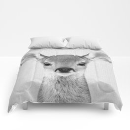 Baby Deer - Black & White Comforters