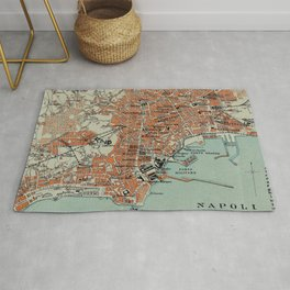 Vintage Map of Naples Italy (1911) Rug