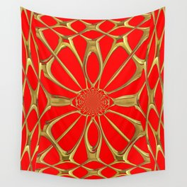 Modernistic Red-Gold Metallic Floral Web Art Design Wall Tapestry