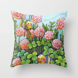 Hide and Seek in the Clover Throw Pillow