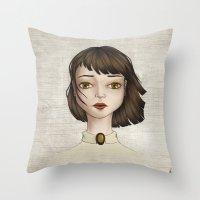 coraline Throw Pillows featuring Coraline by Gökçenur