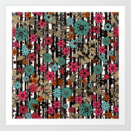 Floral pattern on black and white striped background Art Print