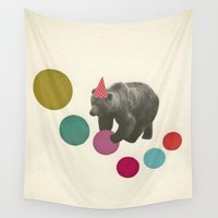 birthday Wall Tapestries featuring Birthday Bear by Cassia Beck