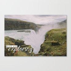 Gullfoss, Iceland - Never Stop Exploring Canvas Print
