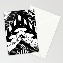 Layered (Black and white, abstract, geometric designs) Stationery Cards