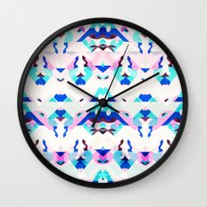 Mountain Ikat in Pink and Blue Wall Clock