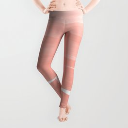 Modern abstract pink coral ombre brushstrokes pattern Leggings