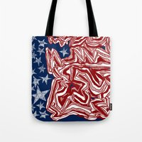 american flag Tote Bags featuring American Flag by Brontosaurus