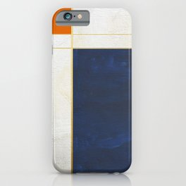 Orange, Blue And White With Golden Lines Abstract Painting iPhone Case