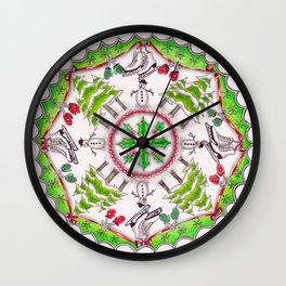 Winter Wreath Mandala Wall Clock