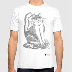 Geek Cat  Mens Fitted Tee White MEDIUM