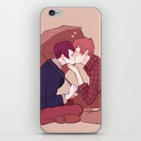yaoi iPhone & iPod Skins featuring kiss under the umbrella by elvishness