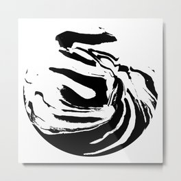 World's Threshold Black and White Marbling, Marbles Lost Metal Print