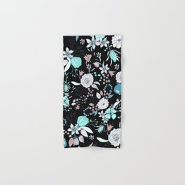 Abstract teal white black country modern floral Hand & Bath Towel