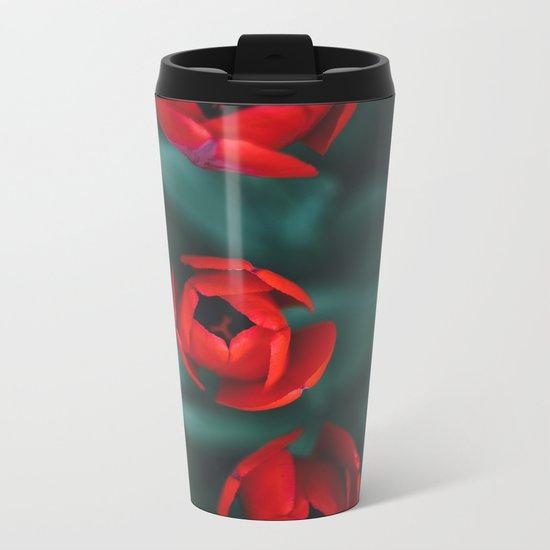 Red roses yellow Metal Travel Mug