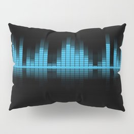 Blue Graphic Equalizer on Black Pillow Sham