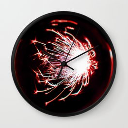 Red Glitter Firework In Sphere Wall Clock