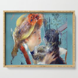 renoir girl and dog teal Serving Tray