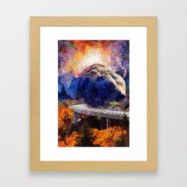 Big mountain bear on highway Framed Art Print