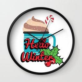 Hello Winte Hot Cocoa Wall Clock