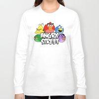 sesame street Long Sleeve T-shirts featuring Angry Street: Angry Birds and Sesame Street Mashup by Olechka