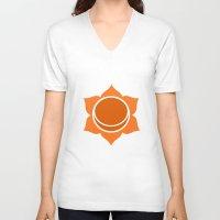 chakra V-neck T-shirts featuring Sacral Chakra by cosmicsenpai