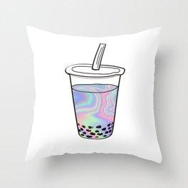 Holographic Bubble Tea Throw Pillow