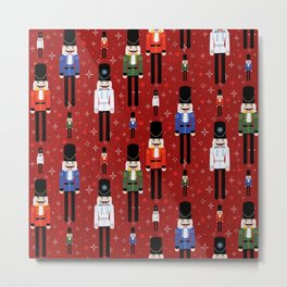 Christmas Nutcracker Soldiers Winter Pattern in Red Metal Print