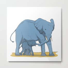 Elephant mother with her cub Metal Print