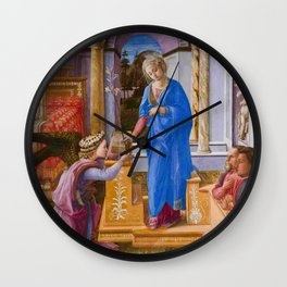 "Fra Filippo Lippi ""Annunciation with two Kneeling Donors"" Wall Clock"