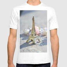 Paris White Mens Fitted Tee MEDIUM