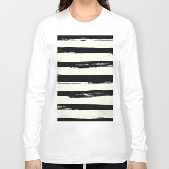 Tribal Paint Stripes Black and Cream Long Sleeve T-shirt