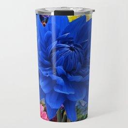 CONTEMPORARY BLUE DAHLIA GARDEN ART Travel Mug