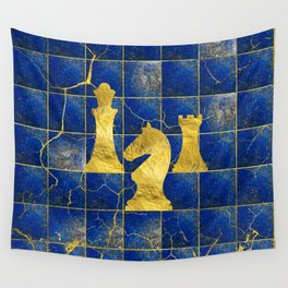 Lapis Lazuli Chessboard and Gold Chess Pieces Wall Tapestry