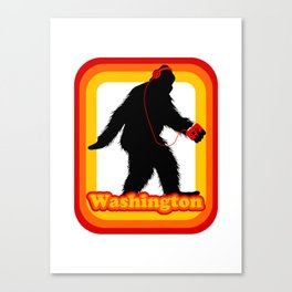 Retro Sasquatch Washington Canvas Print