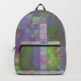 Lotus flower purple and lime green stitched patchwork - woodblock print style pattern Backpack
