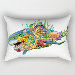 Colored Sea Shark Rectangular Pillow