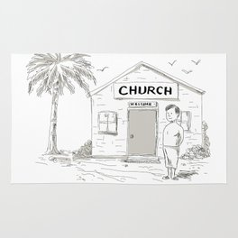 Samoan Boy Stand By Church Cartoon Rug