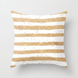 Elegant white faux gold glitter geometrical stripes Throw Pillow