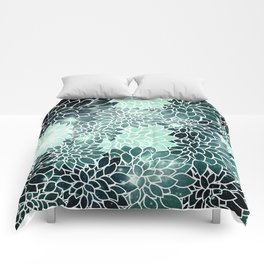 Space Dahlias Spearmint Green Comforters